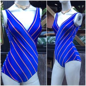 80's Deep V Striped One Piece Bathing Swimsuit